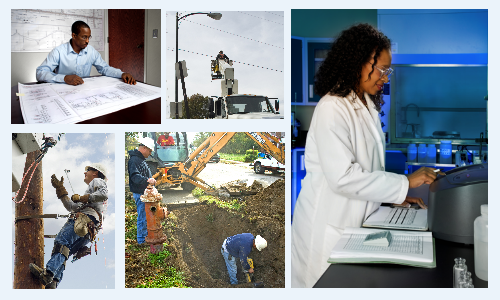 A collage of photos of careers available. One is in a laboratory, one is of a line repairman, another of a construction worker and one of an engineer.