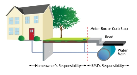 Graphic depicting Homeowners's responsibility of Water Line.  Homer is responsible from home to Meter box or Curb Stop.