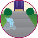 Colored Illustration showing a outside water leak