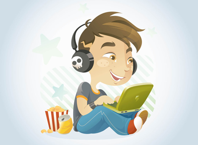 A cartoon of a young boy wearing headphones and playing on a laptop.