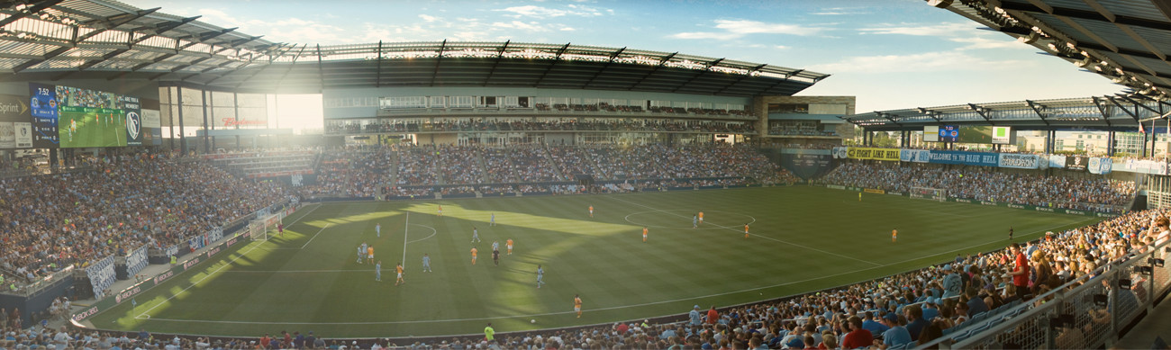 Children's Mercy Park stadium full for a Sporting KC soccer game.